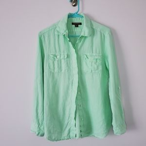 Tommy Bahama Mint Green Button Up Linen Shirt